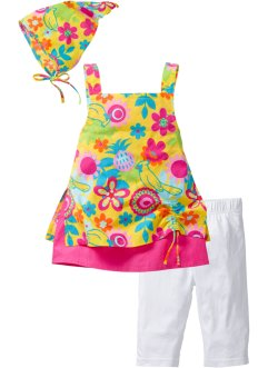 Kleid+Leggings+Kopftuch (3tlg.), bpc bonprix collection, tulpengeel gedessineerd