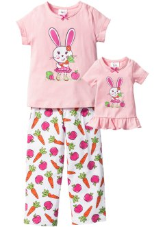 Pyjama+poppennachthemd (3-dlg. set), bpc bonprix collection, roze poudre/wit met print