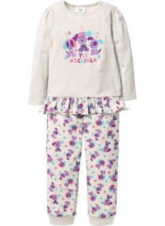 Pyjama (2-dlg. set), bpc bonprix collection, ecru gemêleerd/lila