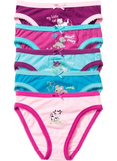 Slip (set van 5), bpc bonprix collection, roze+pink+aqua