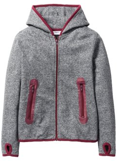 Sweatvest, bpc bonprix collection, lichtgrijs gemêleerd/zwart/bordeaux
