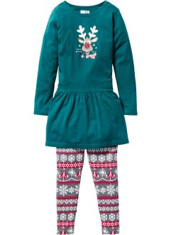 Jurk+legging (2-dlg. set), bpc bonprix collection, petrol/grijs/rood gedessineerd