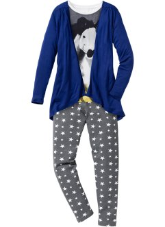 Shirt+vest+legging (3-dlg. set), bpc bonprix collection, wolwit/blauw/grijs met print