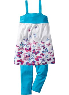 Jurk+3/4-legging (2-dlg. set), bpc bonprix collection, turkoois vlinderprint