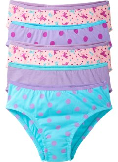 Slip (set van 5), bpc bonprix collection, aqua/lila/roze poudre gedessineerd
