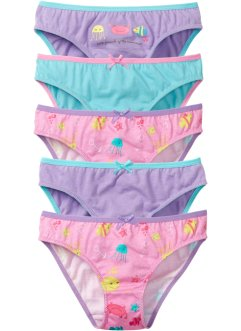 Slip (set van 5), bpc bonprix collection, roze gedessineerd/lila/aqua