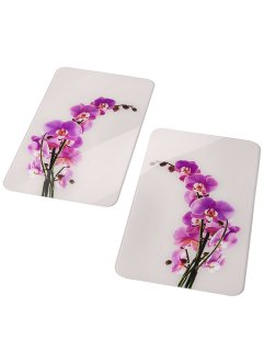 Fornuisafdekplaten «Orchidee» (set van 2), bpc living, wit/paars