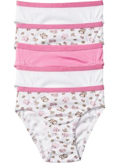 Slip (set van 5), bpc bonprix collection, roze/wit