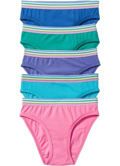 Slip (set van 5), bpc bonprix collection, smaragdgroen/pink/blauw