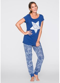 Pyjama, bpc bonprix collection, gentiaanblauw gedessineerd