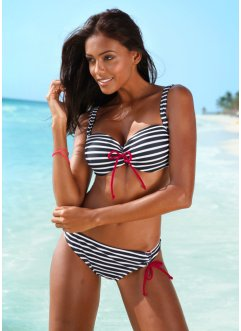 Beugelbikini, bpc bonprix collection, zwart/wit gestreept