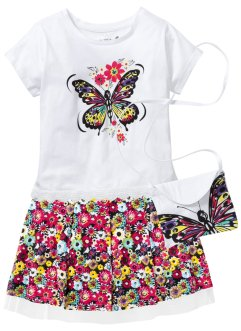 Shirt+rok+tasje (3-dlg. set), bpc bonprix collection, wit/multicolor gedessineerd