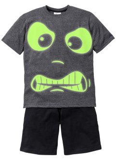 Pyjama «Glow in the Dark» (2-dlg. set), bpc bonprix collection, antraciet gemêleerd/zwart
