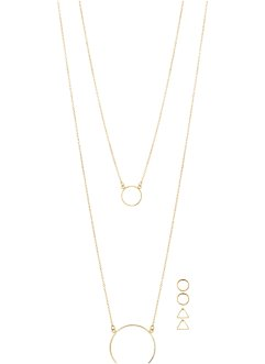Halsketting+oorbellen (5-dlg. set), bpc bonprix collection, goudkleur