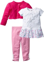Bolero+T-shirt+legging (3-dlg. set), bpc bonprix collection, donkerpink/wit/roze