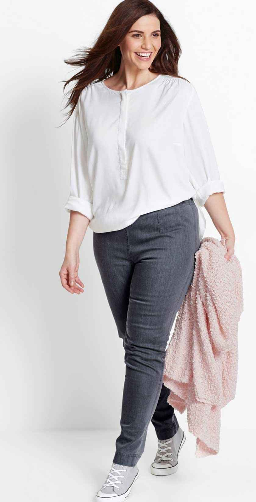 Dames - Jeansleggings «smal» - grey denim