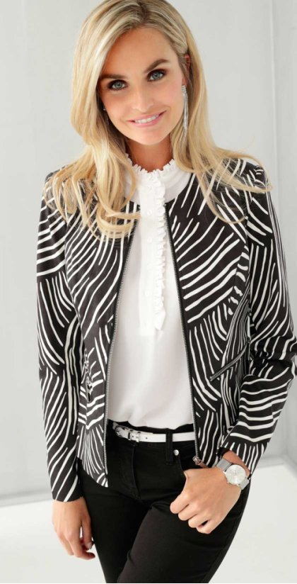 Dames - Blazer - zwart/wit gedessineerd