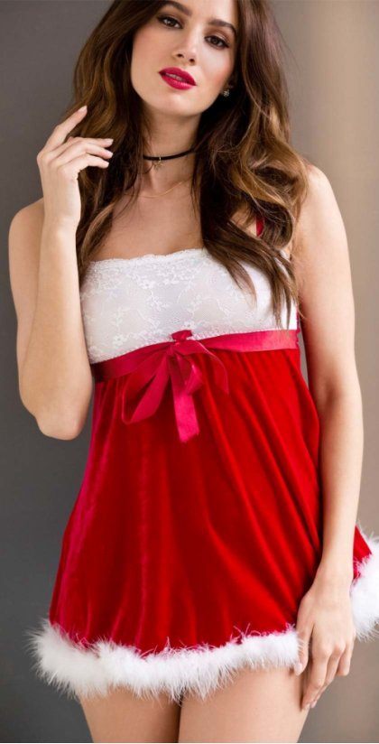 Dames - Kerstbabydoll - rood/wit
