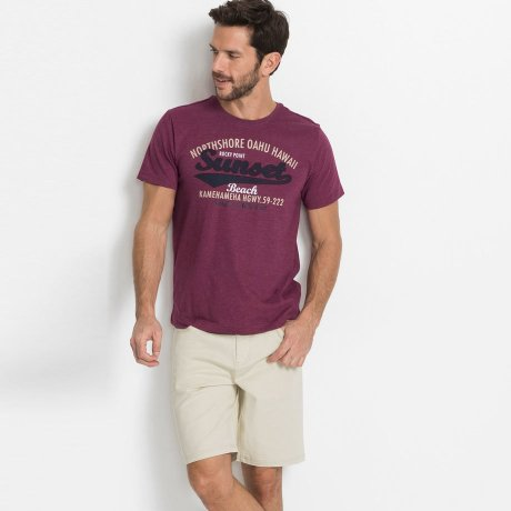 Heren - Stretch bermuda classic fit - ecru