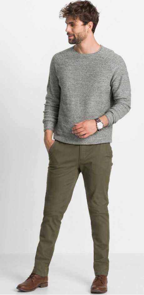 Heren - Slim fit chino - donkerolijfgroen