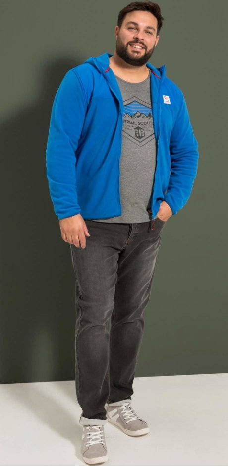 Heren - Fleece vest, slim fit - azuurblauw