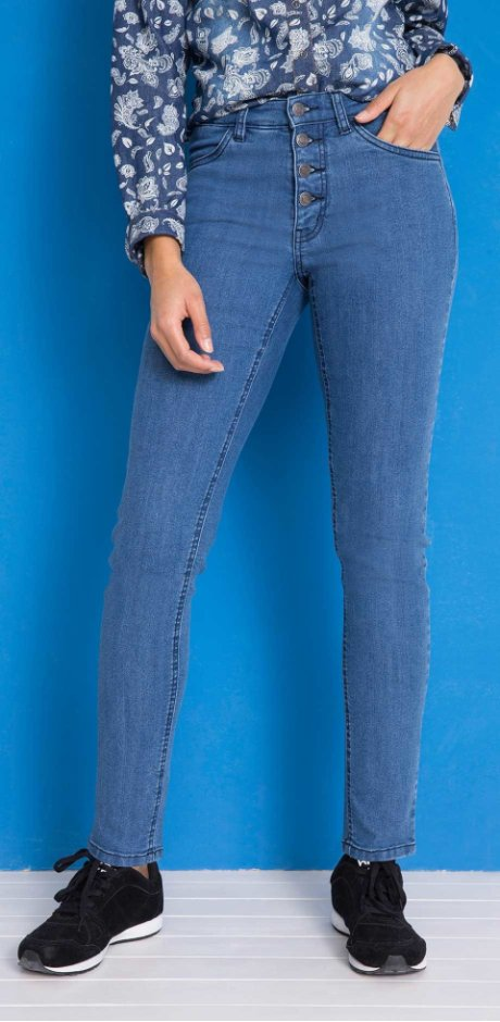 Dames - Stretchjeans slim fit - blauw