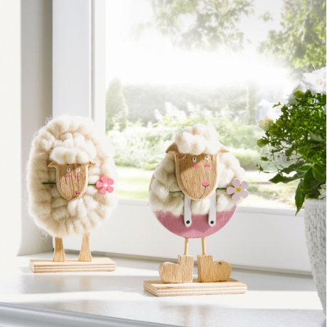 Wonen - Decoratiefiguren «Schapen» (2-dlg. set) - naturel/wolwit