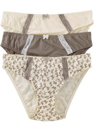 Slip (set van 3), bpc bonprix collection, gedessineerd+taupe+champagnekleur