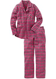Flanellen pyjama, bpc bonprix collection, pink geruit