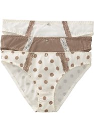 Slip (set van 3), bpc bonprix collection, gedessineerd+champagnekleur+taupe