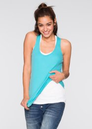 Tanktop (set van 2), RAINBOW, aqua+wit