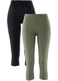 Caprilegging (set van 2), bpc bonprix collection, olijfgroen+zwart