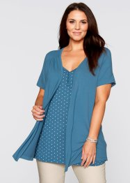 2in1-shirt, bpc bonprix collection, grijs gemêleerd/mentholblauw gestippeld