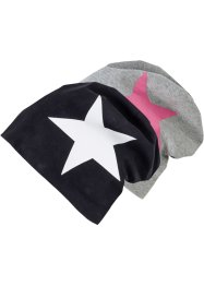 Beanies (set van 2), bpc bonprix collection, zwart/wit+grijs/pink ster