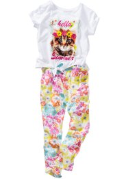 Shirt+broek (2-dlg. set), bpc bonprix collection, wit/multicolor gedessineerd