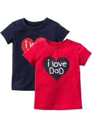 Babyshirt (set van 2), bpc bonprix collection, rood/donkerblauw