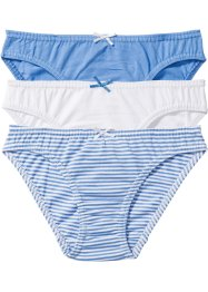 Slip (set van 3), bpc bonprix collection, middenblauw/wit