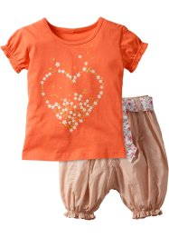 T-shirt+broek (2-dlg.), bpc bonprix collection, zalmkleur/beige