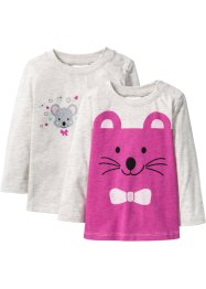 Longsleeve (set van 2), bpc bonprix collection, ecru gemêleerd+fuchsia