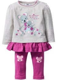 Longsleeve+legging (2-dlg. set), bpc bonprix collection, ecru gemêleerd/fuchsia