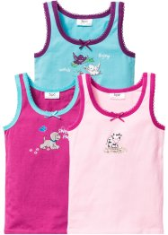 Hemdje (set van 3), bpc bonprix collection, roze+pink+aqua