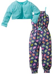 Jumpsuit+bolero (2-dlg. set), bpc bonprix collection, indigo gedessineerd+aqua