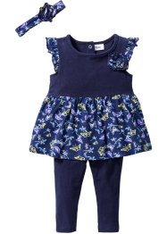 Jurk+legging+haarlint (3-dlg. set), bpc bonprix collection, middernachtblauw/donkerblauw