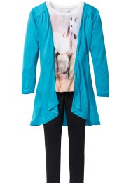 Shirt+vest+legging (3-dlg. set), bpc bonprix collection, donkerturkoois/wolwit/zwart