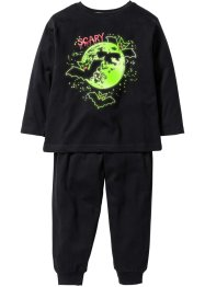 Glow-in-the-dark pyjama (2-dlg. set), bpc bonprix collection, zwart/vleermuis