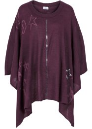 Poncho, bpc bonprix collection, aubergine