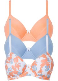 Beha (set van 3), bpc bonprix collection, gedessineerd+blauw+papaja