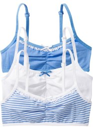 Bustier (set van 3), bpc bonprix collection, middenblauw/wit