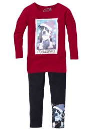 Longshirt+legging (2-dlg.), bpc bonprix collection, donkerrood/donkerantraciet