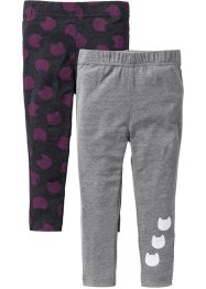 Legging (set van 2), bpc bonprix collection, antraciet gemêleerd+grijs gemêleerd